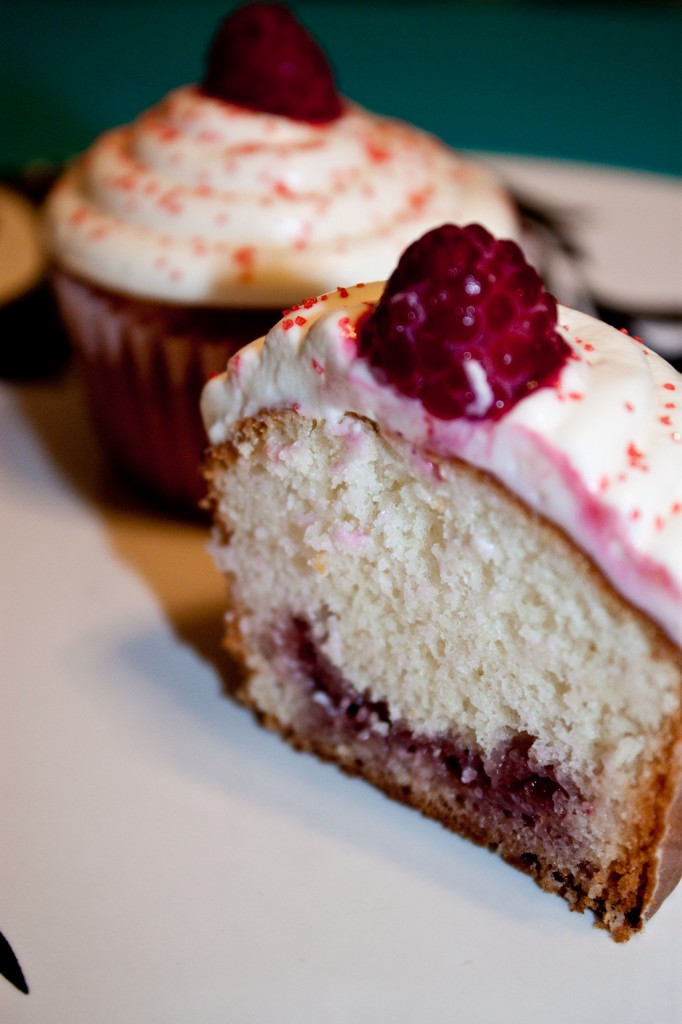 Inside of a white chocolate raspberry cupcake