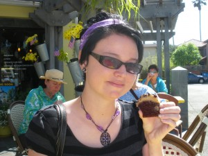 KT with mocha cupcake from yellow vase in redondo beach