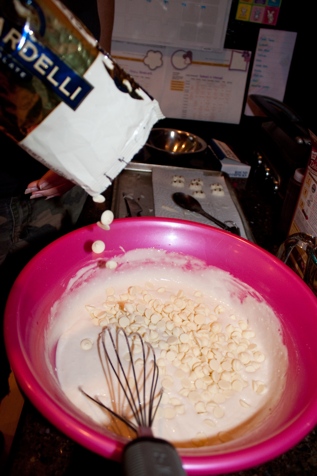 Adding white chocolate chips to batter